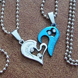 2pc Couples I Love You Heart Necklaces